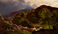 Paintings, SIDNEY RICHARD PERCY (British, 1821-1886). The River Llugwy at Capel Curig, 1861. Oil on canvas. 14 x 23 inches (35.6 x ...