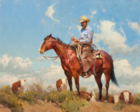 BILL ANTON (American, b. 1957) The Rancher Oil on canvas laid on board 24 x 30 inches (61.0 x 76