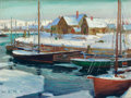 American:Marine, JONAS LIE (Norwegian-American, 1880-1940). Winter Harbor,1920. Oil on canvas. 18 x 24 inches (45.7 x 61.0 cm). Signed l...