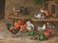 Fine Art - Painting, European:Modern  (1900 1949)  , EDGAR HUNT (British, 1876-1953). Rabbits, Chickens, andPigeons, 1948. Oil on board. 12 x 16 inches (30.5 x 40.6 cm).Si...