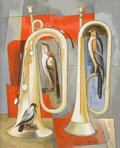 Paintings, BROR UTTER (American, 1913-1993). Two Trumpets and Three Birds, February 1959. Oil on canvas. 23-1/2 x 19-1/2 inches (59...