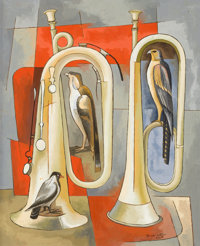 BROR UTTER (American, 1913-1993) Two Trumpets and Three Birds, February 1959 Oil on canvas 23-1/2