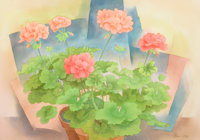 BROR UTTER (American, 1913-1993) Geraniums, circa 1955 Watercolor on paper 14 x 19-1/2 inches (35