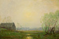 Texas:Early Texas Art - Impressionists, JULIAN ONDERDONK (American, 1882-1922). Landscape withCabin. Oil on artists' board. 6 x 9 inches (15.2 x 22.9 cm).Sign...