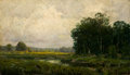 Texas:Early Texas Art - Impressionists, JULIAN ONDERDONK (American, 1882-1922). On the Banks of aRiver. Oil on artists' board. 4-1/2 x 7-1/2 inches (11.4 x19....