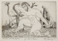 Prints, KELLY FEARING (American, 1918-2011). Hercules and the Hydra, 1945. Etching. 4-1/2 x 6-1/2 inches (11.4 x 16.5 cm). Signe...