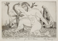 KELLY FEARING (American, 1918-2011) Hercules and the Hydra, 1945 Etching 4-1/2 x 6-1/2 inches (11