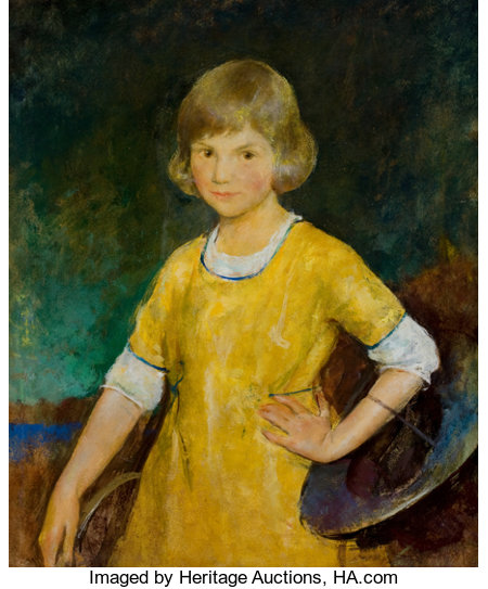 CHARLES WEBSTER HAWTHORNE (American, 1872-1930) Portrait of Joan Becker, 1920 Oil on board 30 x 25 inches (76.2 x 63....