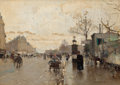 Fine Art - Painting, European:Antique  (Pre 1900), LUIGI LOIR (French, 1845-1916). Parisian Street Scene. Oilon panel. 6 x 8-3/4 inches (15.2 x 22.2 cm). Signed lower rig...