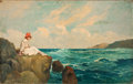 Fine Art - Painting, European:Modern  (1900 1949)  , ANTAL NEOGRADY (Hungarian, 1861-1942). Sitting on the Rocks. Oil on canvas . 32-1/2 x 51-1/2 inches (82.6 x 130.8 cm). S...