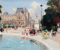 JULES RENÉ HERVÉ (French, 1887-1981) Le Bassin des Tuileries Oil on canvas 18 x 22 inches (45.7