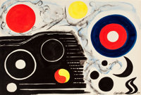 ALEXANDER CALDER (American, 1898-1976) Dream Figments, 1964 Ink and gouache on paper 29-1/2 x 42-