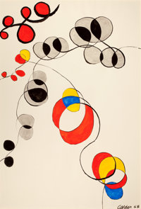 ALEXANDER CALDER (American, 1898-1976) Vertical Loops, 1968 Gouache and ink on paper 43 x 29-1/2