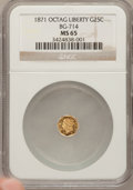 California Fractional Gold: , 1871 25C Liberty Octagonal 25 Cents, BG-714, R.3, MS65 NGC. NGCCensus: (5/4). PCGS Population (42/25). (#10541)...