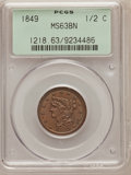 Half Cents: , 1849 1/2 C Large Date MS63 Brown PCGS. PCGS Population (41/25). NGCCensus: (35/45). Mintage: 39,864. Numismedia Wsl. Price...