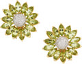 Estate Jewelry:Earrings, Diamond, Peridot, Gold Earrings. ... (Total: 2 Items)