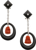 Estate Jewelry:Earrings, Diamond, Black Onyx, Red Jade, White Gold Earrings. ... (Total: 2Items)