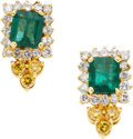 Estate Jewelry:Earrings, Emerald, Colored Diamond, Diamond, Gold Earrings. ... (Total: 2Items)