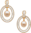 Estate Jewelry:Earrings, South Sea Cultured Pearl, Diamond, Pink Gold Earrings. ... (Total:2 Items)