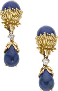 Estate Jewelry:Earrings, Lapis Lazuli, Diamond, Gold Earrings. ... (Total: 2 Items)