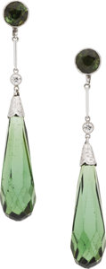 Estate Jewelry:Earrings, Tourmaline, Diamond, Platinum Earrings. ... (Total: 2 Items)