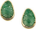 Estate Jewelry:Earrings, Jade, Diamond, Gold Earrings, Gumps. ... (Total: 2 Items)
