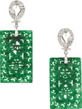 Estate Jewelry:Earrings, Jade, Diamond, White Gold Earrings. ... (Total: 2 Items)