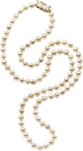 Estate Jewelry:Pearls, Cultured Pearl, Freshwater Cultured Pearl, Gold Necklace. ...