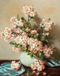 A. D. GREER (American, 1904-1998) Flowering Cherry Blossoms Oil on canvas 20 x 16 inches (50.8