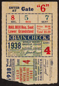 Baseball Collectibles:Tickets, 1938 World Series Game 4 Ticket Stub....