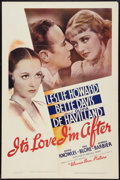 "Movie Posters:Comedy, It's Love I'm After (Warner Brothers, 1937). One Sheet (27"" X 41"").Comedy.. ..."