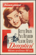 """Movie Posters:Crime, Deception (Warner Brothers, 1946). One Sheet (27"""" X 41""""). Crime....."""