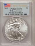 Modern Bullion Coins, 2011 $1 25th Anniversary Silver American Eagle, First Strike MS70PCGS. PCGS Population (33136). NGC Census: (0). (#50525...