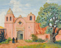 Texas:Early Texas Art - Regionalists, CHARLES EDWARD KISTENMACHER (American, 1914-2004). Mission SanCarlos Borromeo 1770, Carmel California, 1968. Oil on can...