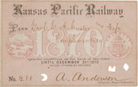 George Armstrong Custer: Railroad Pass Inscribed to Custer and Wife