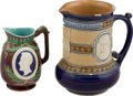 Political:3D & Other Display (pre-1896), George Washington: Majolica and Doulton Pitchers.... (Total: 2Items)