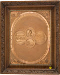 """Political:3D & Other Display (pre-1896), George Washington: A Beautiful 1859 Copper Plaque Titled """"TheNational Medallion"""". ..."""