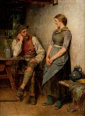 19th Century European, HUGO WILHELM KAUFFMANN (German, 1844-1915). A Conversation.Oil on panel. 7 x 5-1/2 inches (17.8 x 14.0 cm). ...
