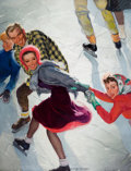 Mainstream Illustration, EMERY CLARKE (American , -1990). Ice Skaters, Saturday EveningPost cover, March 2, 1940. Oil on canvas. 43 x 33.5 in.. ...