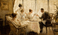 EDMUND FRANKLIN WARD (American, 1892-1991) Afternoon Tea with the Gentleman Oil on canvas 20 x 33