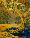 Paintings, MAXFIELD PARRISH (American, 1870-1966). Study for Autumn Brook, 1948. Oil on board. 10 x 8 in.. Not signed. ...