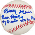 Autographs:Baseballs, Rosey Grier Single Signed Inscription Baseball....