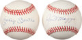 Autographs:Baseballs, Mickey Mantle And Joe DiMaggio Single Signed Baseballs Lot Of 2....