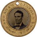 Political:Ferrotypes / Photo Badges (pre-1896), Abraham Lincoln: 1860 Ferrotype....