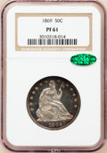 Proof Seated Half Dollars: , 1869 50C PR61 NGC. CAC. NGC Census: (7/121). PCGS Population(12/158). Mintage: 600. Numismedia Wsl. Price for problem free...