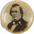 Political:Ferrotypes / Photo Badges (pre-1896), Andrew Johnson: Mother-of-Pearl Portrait Button. ...