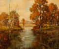 Texas:Early Texas Art - Regionalists, ROBERT WILLIAM WOOD (American, 1889-1979). Autumn Trees withStream. Oil on canvas . 25 x 30 inches (63.5 x 76.2 cm). Si...