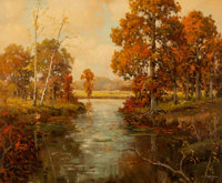 ROBERT WILLIAM WOOD (American, 1889-1979) Autumn Trees with Stream Oil on canvas 25 x 30 inches