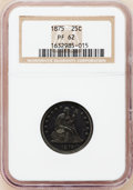 Proof Seated Quarters: , 1875 25C PR62 NGC. NGC Census: (16/102). PCGS Population (34/75).Mintage: 700. Numismedia Wsl. Price for problem free NGC/...