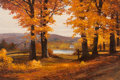 ROBERT WILLIAM WOOD (American, 1889-1979) Golden Hours, 1972 Oil on canvas 25 x 37-1/2 inches (63